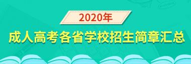 2020年成人高考招生简章汇总