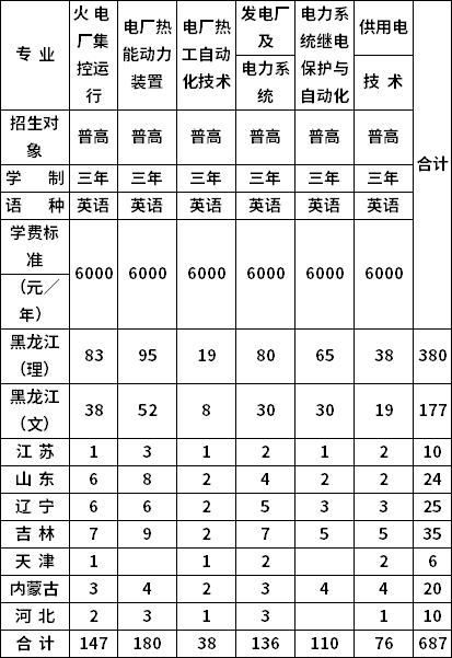 2020年哈尔滨电力职业技术学院分省分专业招生计划一览表